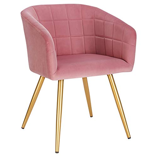 WOLTU 1x Dining Chair Kitchen Counter Table Chair Lounge Leisure Living Room Corner Chair Armchair Velvet Pink Reception Chair with Backrest & Armrests & Metal Legs