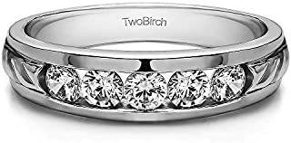 TwoBirch Sterling Silver Channel Set Men's Wedding Ring With Brilliant Moissanite (0.3Ct. Size 7.5)