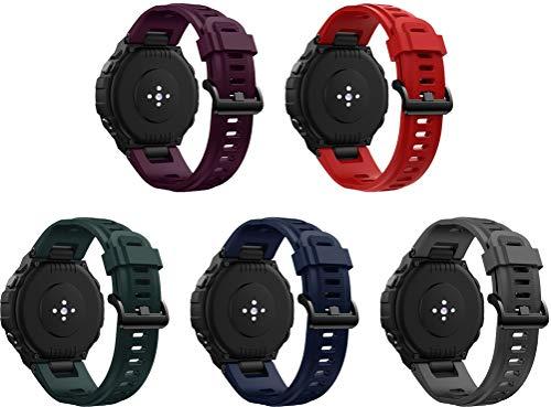 Simpleas Correa de Reloj Recambios Correa Relojes Caucho Compatible con Amazfit T-Rex - Silicona Correa Reloj con Hebilla (5PCS H)