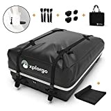 Xplorgo Car Rooftop Cargo Carrier Bag - 15 Cubic Feet - 100% Waterproof Car Top Carrier Roof Bag - Includes a Car Doorstep for Easy Loading & Unloading - No Rack Needed with our Car Roof Cargo Carrier