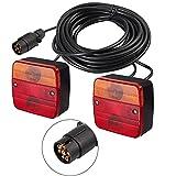 Justech 2PCS Luces Traseras Remolque con 7,5m Cable y 7 Pin Conector 12V Bombillas Piloto Trasero de 5 Funciones Luz de Matrícula Placa Trasera Luz de Freno para Remolque Camion Caravan E-Mark