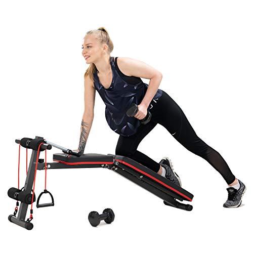 Hantelbank, Klappbar Heimtraining Fitness, Fitnessbank, Trainingsbank mit Gewichten, Multifunktion Hantelbank Set für Ganzkörpertraining