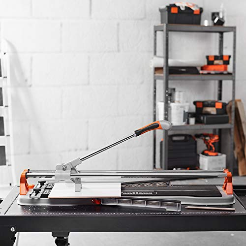 VonHaus 24 Inch Tile Cutter Manual – Professional Porcelain Ceramic Floor Tile Cutter Tungsten Carbide Cutting Wheel, Anti-sliding Rubber Surface – For Porcelain and Ceramic Floor and Ceiling Tiles