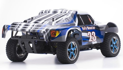 Exceed RC 1/10 2.4Ghz Rally Monster Nitro Gas Powered RTR Off Road Rally Car 4WD Truck Stripe BlueREQUIRED to Run and Sold Separately: Starter KIT