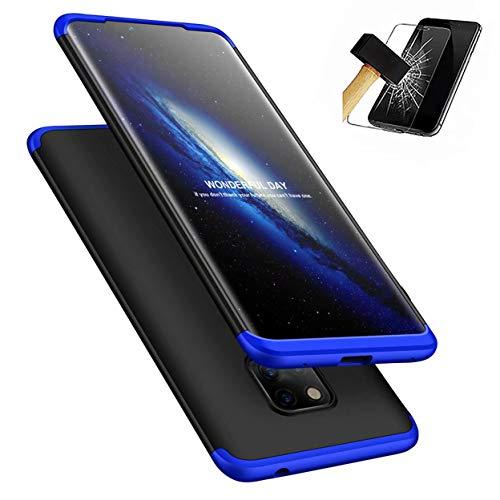 Huawei Mate 20 hoes + pantserglas, LaiXin 360 graden telefoonhoes ultradunne PC plastic anti-kras beschermhoes met displaybeschermfolie voor Huawei Mate 20 - blauw/zwart