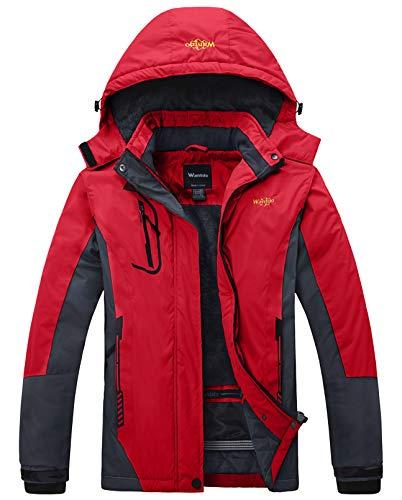 Wantdo Damen Winter Skijacke wasserdichte Atmungsaktive Wanderjacke Verdickte Windjacke Winddichter Schneemantel Outdoor Kapuzenjacke Rot L