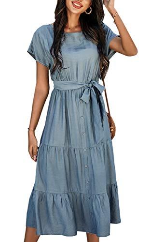 Spec4Y Kleider Damen Lang Sommer Elegant Maxikleider Rundhals Kurzarm Einfarbig Sommerkleider Strandkleider 2114 Blau Medium