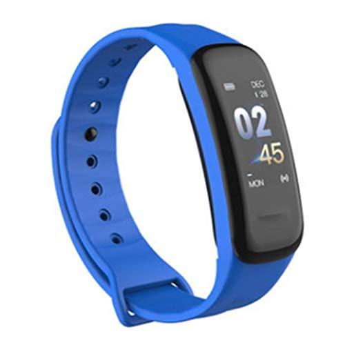 LYB Impermeable C1 Plus Smartband Color Screen Presión Arterial Monitor De Ritmo Cardíaco Fitness Muñeca Banda (Color : Blue)