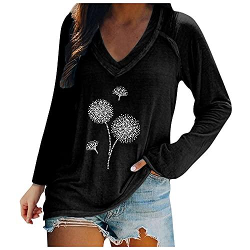 Camiseta de manga larga para mujer, suéter suelto, con estampado de calavera, camiseta gráfica, elegante,...