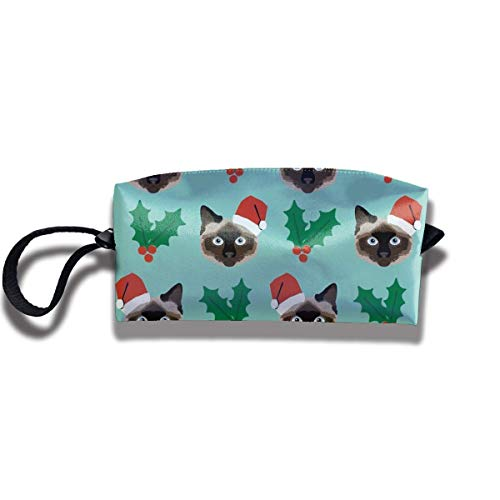 Cosmetics Receive Bag Stationery Pouch Bag - Aufbewahrungstasche für Siamese Christmas Cat Cosmetic Reception Bag