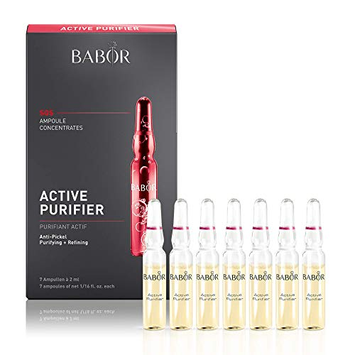 BABOR Active Purifier Ampoule Serum Concentrates, Treatment for Acne and Clogged Pores, Pore Minimizer with Tea Tree Oil, Paraben Free