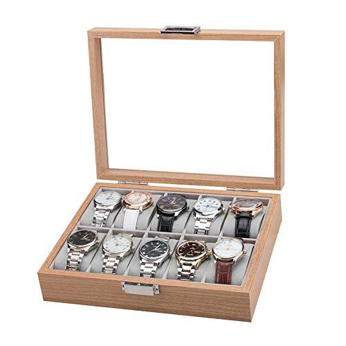 pegtopone 10 Slot Palisander Uhrenbox Vitrine Sammlung Schmuckschatulle mit transparentem Deckel Contribution Remarkable