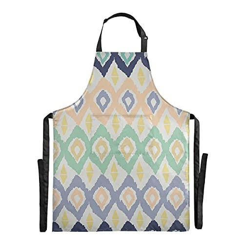 Vnurnrn Colorido Patrón Prismático Arte Impermeable Delantal de Cocina con 2 Bolsillos para Cocinar Mujeres Hornear Camarero Cocineros Hombres