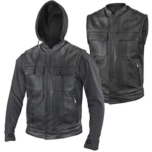 Xelement BXU1006 'Jax' Men's Black Leather Motorcycle Hoodie Jacket with Convertible Vest - Large