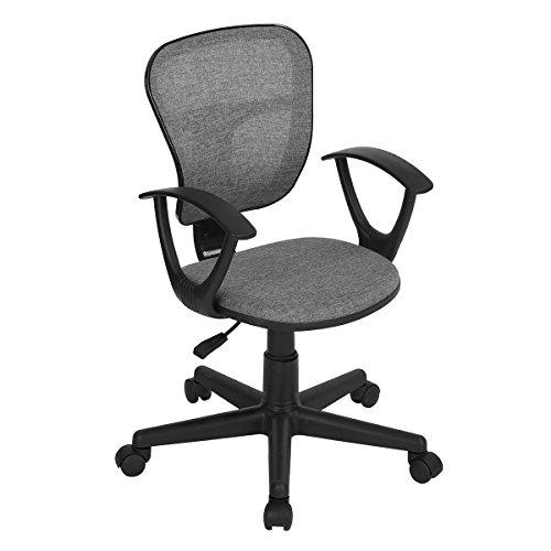 Sedia per computer da casa, ufficio, in tessuto, schienale medio, girevole, altezza regolabile, sedia da scrivania, Tessuto, Grey, with Arms