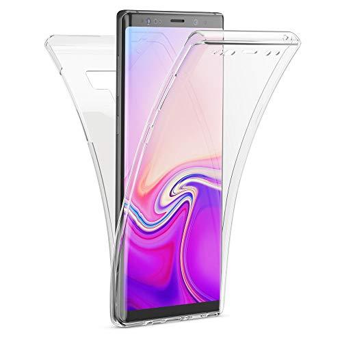 Kaliroo Hülle 360 Grad kompatibel mit Samsung Galaxy Note 9 Dünne Silikon Handyhülle R&um Full-Body Cover, Ultra-Slim Schutzhülle Handy-Tasche Hülle, Bildschirmschutz und Komplett-Schutz - Transparent