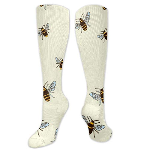 Bees On Cream Winter High Footless Socks Insulated Boot Thermal Socks Long Leg Warmers Knee High Women Men Casual Novelty Best for Running Hiking Athletic Flight Travel
