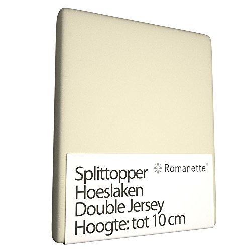 Luxe Dubbel Jersey Splittopper Hoeslaken - 160x200 cm - Jersey - Romanette - Voor Matrassen Tot 8 CM