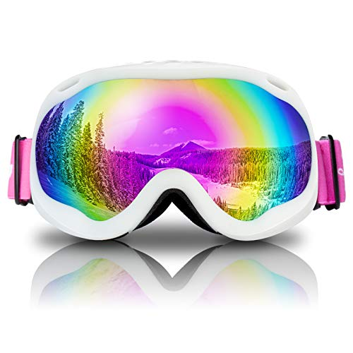 Keary Youth Kids Ski Goggles Snowboard Goggles, Anti Fog Snow Goggles for Boys Girls Youth Age 5-16, 100%UV Protection Dual Layers Spherical Mirror Lens Helmet Compatible, Kid Winter Sport Goggles OTG