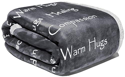 Mitfühldecke – Stärke Mut & super weiche warme Umarmungen, Genesungsgeschenk, Plüschdecke, heilende Gedanken, positive Energie, Liebe & Hoffnung für Menschen (127 x 165 cm, anthrazitgrau)