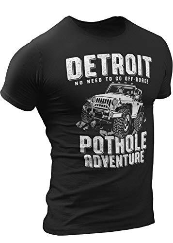 Pothole Adventure T-Shirt by Detroit Rebels | Funny Mens Vintage Black Tshirt