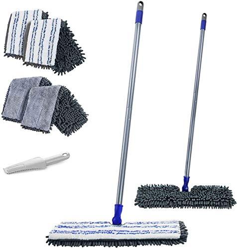 MASTERTOP Wischmop aus Chenille, Doppelseitig Bodenwischer mit 4 Mopppads und 1 Schaber, trockenem und feuchtem, Flach Mopp zum Reinigen von Böden