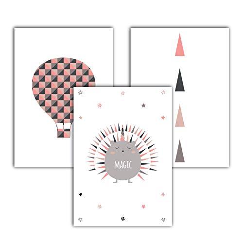 Partycards Poster 3er-Set als Dekoration, Kunstdruck, Wandbild, Typographie, Geschenk (Ballon Igel Dreieck)