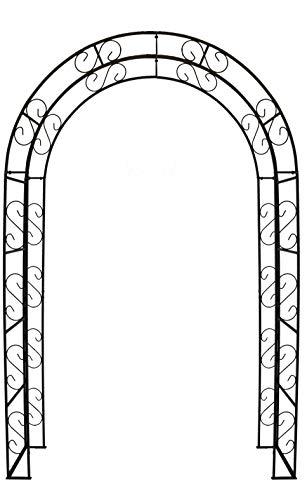 Hirsch Terracotta Rosenbogen Rund aus Metall stabil, Vollmaterial mit Edelrost, Rankgitter Breite 140cm Höhe 245cm Tiefe 40cm, incl. 4 Bodenanker