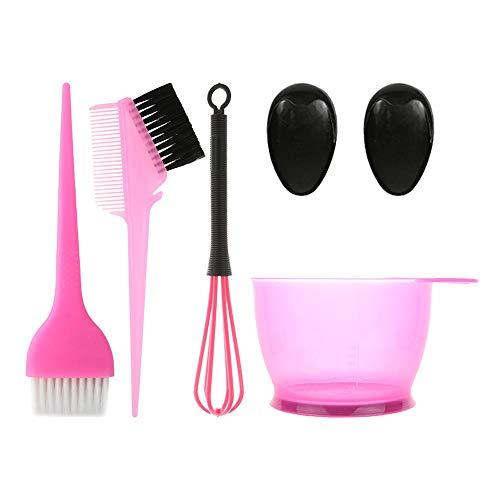 POFET Juego de 5 tintes para el cabello, cepillo de color para el cabello y cuenco, incluye cuenco para tinte, cepillo para teñir, funda para oídos y mezclador, aplicador para teñir el cabello