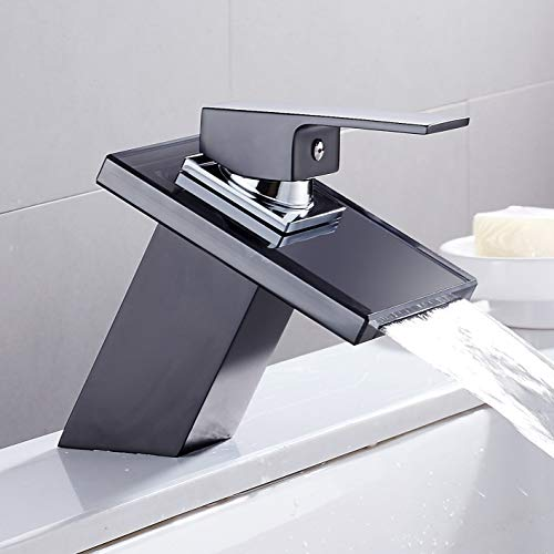ZHQHYQHHX Grifo de lavabo de cristal para baño con cubierta negra, para lavabo, cuadrado, grifo de baño (color con manguera tamaño 1 2)