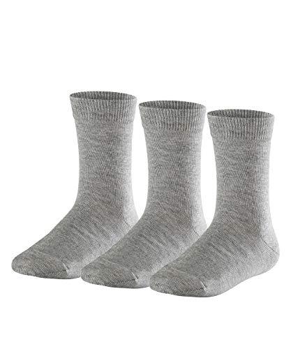 FALKE Kinder Socken Family 3-Pack - 94% Baumwolle, 3 Paar, Grau (Light Grey 3400), Größe: 35-38