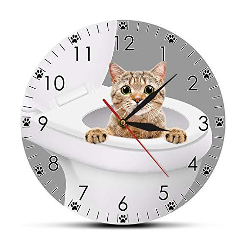 yage Adorable Gatito Gato asomando Desde el Inodoro baño Reloj de Pared habitación en Polvo decoración del hogar Gato Tienda de Mascotas Divertido Arte de Pared Reloj de Pared Moderno
