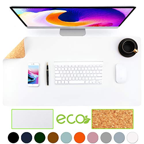 Aothia umweltfreundliche Naturkork &Leder doppelseitige Schreibtischunterlage 80*40cm Mauspad glatte Oberfläche weich einfach sauber wasserdicht PU-Leder Schreibtischschutz für Büro/Heimspiele (Weiß)