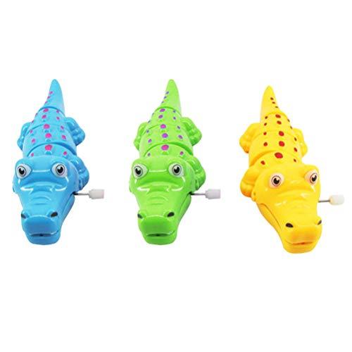 Toyvian Aufziehspielzeug Eisen Uhrwerk Spielzeug Krokodil Form Wind Up Spielzeug für Kinder Party Gastgeschenk 3 Stück (Zufällige Farbe)
