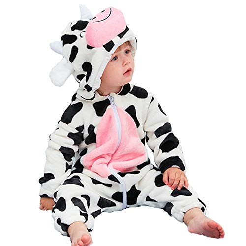 Baby Animal Costume for Halloween - Unisex Infant Winter Autumn Flannel Cartoon Hooded Romper Toddler Cosplay Jumpsuit(Cow, Tag100)