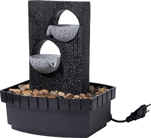 dobar Zimmerbrunnen in Steinoptik mit Deko-Steinen und Zwei Schalen, Wasserspiel mit Pumpe für innen, Grau, 20,5 x 16,5 x 26cm