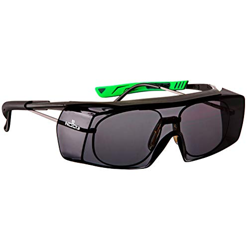 NoCry Getönte Sicherheits-Überbrille mit kratzbeständigen Gläsern, Seitenschutz, verstellbaren Bügeln, 400 UV-Schutz, EN 166, EN 170, EN 172, EN 175 Zertifiziert