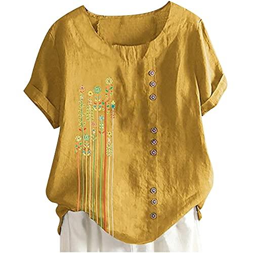 Longays Verano para mujer de algodón de lino Tops más tamaño casual suelto O-cuello túnica blusa moda impresión botón camisa superior - amarillo - XX-Large