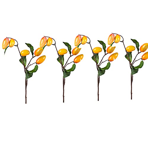 Paquete de 4 ramas de mango artificial, color amarillo, falso mango decoración granja, mango de fruta artificial tallos de árbol para el jardín del hogar