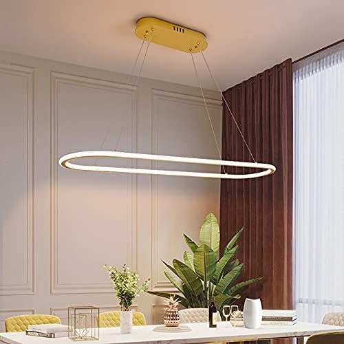 DROMEZ LED Lámpara Colgante Regulable, Lámpara de Suspensión para Mesa de Comedor, Control Remoto Lámpara de Techo Sala de Estar/Cocina/Restaurantes/Café, Regulable en Altura,Gold 90cm