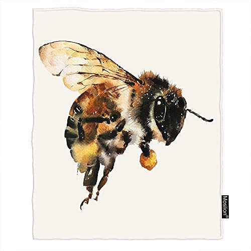 Moslion Bee Throw Blanket Bumblebees Country Watercolor Animal Big Honey Artistic Beautiful Wings Cozy Throw Blanket for Couch Bed Sofa Car Soft Throw Blanket Flannel 50x60 Inch