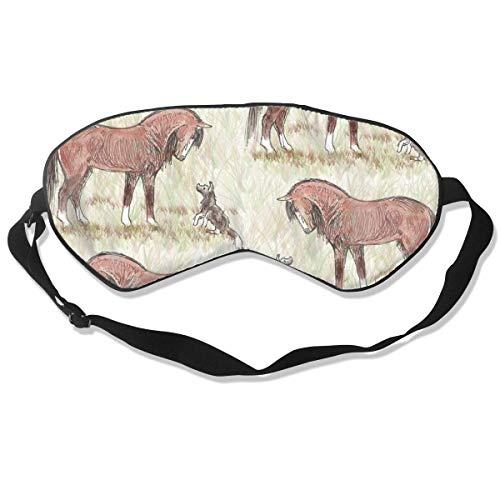 Bay Morgan Paard en Hond Vriend Ademende Pure Zijde Slaap Oog Masker Beste Slapende Oog Cover voor Reizen, Nap, Blindfold met Verstelbare Band voor Mannen, Vrouwen of Kinderen