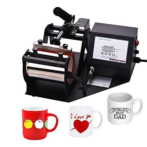 Fesjoy Taza de Prensa de Calor, Máquina de prensado en Caliente de Tazas, máquina de Bricolaje de impresión por sublimación de Transferencia de Calor de 11 oz con Pantalla Digital para Tazas y Tazas