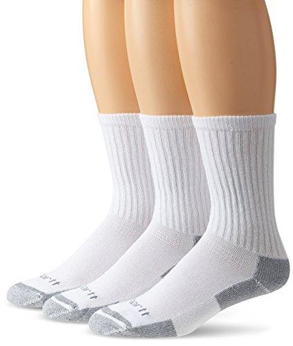 Carhartt Men's 3-Pack Standard All-Season Cotton Crew Work Socks, white, Shoe Size: 5-10