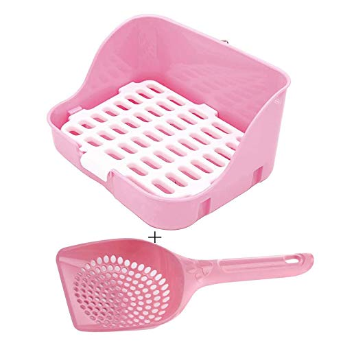 Rabbit Litter Box Potty Training Corner Pan with Grate for Adult Guinea Pigs Ferrets Rats (Pink)