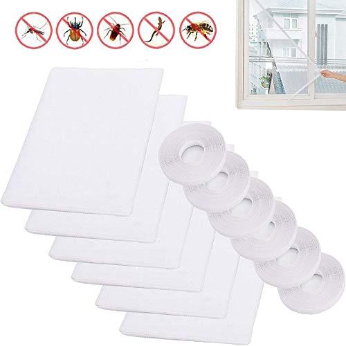 WENT 6 X Moskitonetze für Fenster 1,3m x 1,5m Insektenschutznetz Fliegengitter Mesh Bug Bee Moskito-Schutz mit 6 Rollen Selbstklebeband (10mm breit)