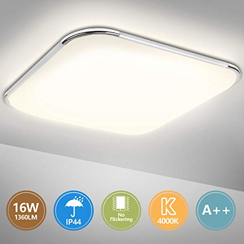 Hengda LED Deckenleuchte, 16W Deckenlampe Bad IP44 Wasserfest Badezimmer Lampe, 1360LM, 4000K Neutralweiß Badleuchte für Schlafzimmer Küche Wohnzimmer Flur Balkon Keller, Flimmerfreie