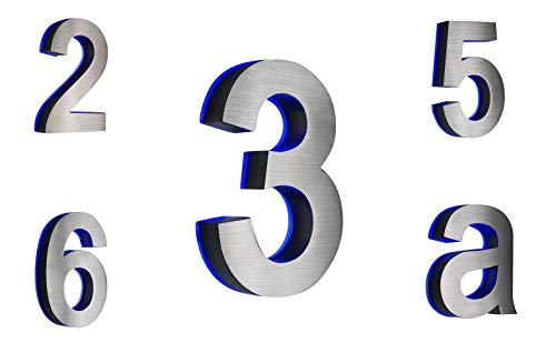 HAUSNUMMER EDELSTAHL Nr.1 / H18cm / V2A / beleuchtet / LED weiss (DC12Volt) / ohne Trafo / NUR 1 x VERSANDKOSTEN FÜR ALLE BESTELLUNGEN ZUSAMMEN !!!