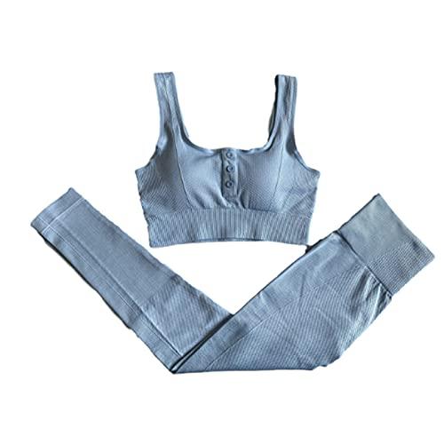 Ropa De Yoga 2 Piezas De Traje Deportivo Pantalones De Gimnasia Para Correr Sin Costuras Para Mujer Cintura Alta Push Up Leggings Deportivos Entrenamiento Para Correr Sujetador Pantalones S Azul