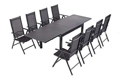 Laxllent Sitzgruppe Alu Gartenmöbel-Sets,Ausziehtisch mit 8 Stühle,7-Fach Verstellbare Hochlehner Stühle,135/270CM,Schwarz